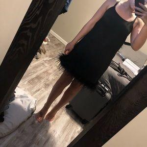 SUPER cute black feather hem dress